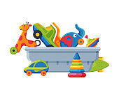 Box with Various Colorful Toys, Plastic Container with Toy Truck, Giraffe, Elephant, Pyramid, Ball, Car Flat Vector Illustration
