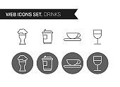 Drinks thin line icons vector set