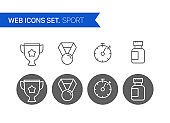 Sport thin line icons vector set