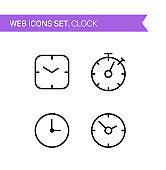 Clock. Thin line icons vector set