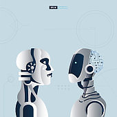 Futuristic humanoid with Artificial Intelligence technology concept. A scientist is assembling a robot vector illustration