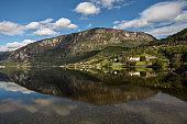 Amazing Reflection of Norwegian Mountains on Lake, Norway