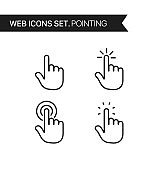 Hand pointing. Thin line icons vector set