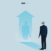 Futuristic humanoid business people with Artificial Intelligence technology vector concept. Robot watches his shadow and contemplating about being success