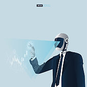Futuristic humanoid business people with Artificial Intelligence technology concept. Robot touching stock trading monitor vector illustrator