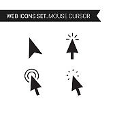 Mouse cursor. Thin line icons vector set