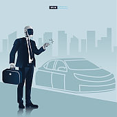 Futuristic humanoid business people with Artificial Intelligence technology concept. Robot going to work vector illustration