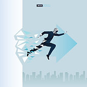 Futuristic humanoid business people with Artificial Intelligence technology concept. Robot breaking the wall glass. Breakthrough vector illustration