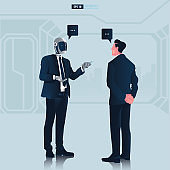 Futuristic humanoid business people with Artificial Intelligence technology concept. Businessman having conversation with robot or chat bot vector illustration