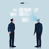 Futuristic humanoid business people with Artificial Intelligence technology concept. Businessman and robot watching hologram graphic user interface