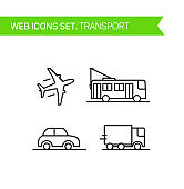 Transport. Thin line icons vector set