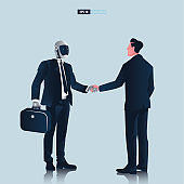 Futuristic humanoid business people with Artificial Intelligence technology concept. Businessman and robot hand shake negotiation vector illustration