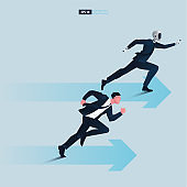 Futuristic humanoid business people with Artificial Intelligence technology concept. Business arrows concept with robot and businessman running to success.