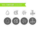 Ecology thin line icons vector set