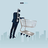 Futuristic humanoid business people with Artificial Intelligence technology concept.  Robot office workers carrying a shopping cart vector illustration