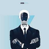 Futuristic humanoid business people with Artificial Intelligence technology concept.  Robot office workers vector illustration