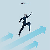 Futuristic humanoid business people with Artificial Intelligence technology concept. Business arrow concept with robot on arrow flying to success vector illustration