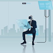 Futuristic humanoid business people with Artificial Intelligence technology concept.  Robot office workers is using a computer vector illustration