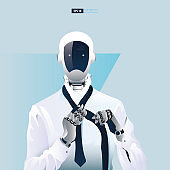 Futuristic humanoid business people with Artificial Intelligence technology concept.  Robot office workers putting on a tie vector illustration