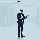 Futuristic humanoid business people with Artificial Intelligence technology concept.  Robot office workers is reading the data vector illustration