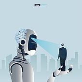 Futuristic humanoid business people with Artificial Intelligence technology concept. A big robot scanning another robot. Vector illustration