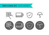 Save money thin line icons vector set
