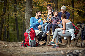 Happy family having a picnic together; Healthy lifestyle concept