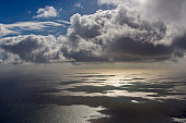 Aerial View, Beautiful Landscape on the North Sea in Norway with Clouds on a Sunny Day