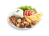 Executive dish minced meat with rice, beans, salad, french fries