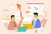 Busy business meeting flat design