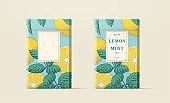 Engraving style lemon tea packaging