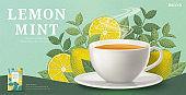 Engraving lemon mint tea banner ads