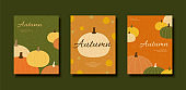 Autumn colorful pumpkin flyer set