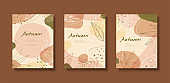 Line style autumn leaves flyer set