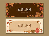 Fall pumpkins and leaves banner set