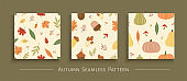 Autumn harvest seamless pattern set