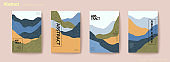 Flat mountain layers flyer set