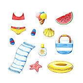summer set of beach accessories and food