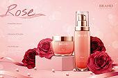 Elegant rose cosmetic ads