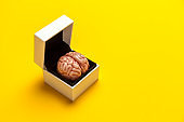 Smart human brain in box is isolated on yellow background as gift to dumb person. Mental development, self-improvement or problems