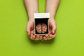 Smart human brain in box is isolated on green background as gift to dumb person. Mental development, self-improvement or problems