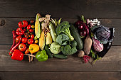 Autumn harvest of homemade vegetables on a wooden background. An assortment of multicolored organic raw food