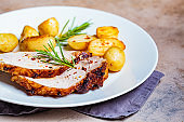 Portion of baked pork loin with potatoes on white plate, dark background.