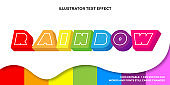 Colorful rainbow text effect with pattern template editable