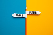 Pencil - direction indicator - choice of plan a or plan b. Business strategy, failure analysis and not give up