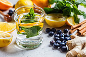 Mint and lemon drink and healthy ingredients for boosting immunity. Anti flu concept.