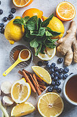 Healthy ingredients for boosting immunity and anti-flu. Citrus fruits, ginger, turmeric,  honey, blueberries and mint on a white background, health concept.