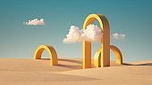 3d render, Surreal desert landscape with yellow arches and white clouds in the blue sky. Modern minimal abstract background
