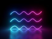3d render, glowing horizontal neon wavy lines, isolated on black, geometric background. Ultraviolet spectrum. Modern minimal concept