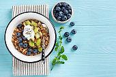 Bowl of granola with fruits and greek yogurt